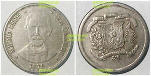 Dominican half 1/2 Peso 1979-1980 31mm cu-ni coin km52