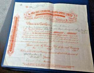 Gold Coast Exploration & Trading Co. Ltd. Share Certificate 1903