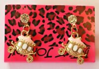 Betsey Johnson Crystal Rhinestone Enamel Carriage Post Earrings