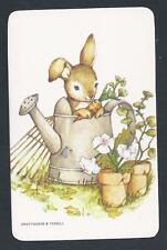 #915.113 Blank Back Swap Card -MINT- Bunny rabbit in watering can