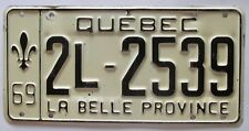 Quebec 1969 License Plate NICE QUALITY # 2L-2539