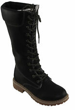 Forever Women's Broadway-12 Faux Shearling Lining Lace-up Winter Boots