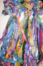 30 yards/30 strips multi Recycled Sari Silk Ribbon Yarn scrap, leftover