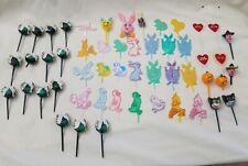 Vintage Mixed Lot of 51 Holiday Cupcake Picks turkey hearts bunny pumpkin chicks