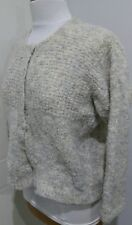 Ladies Rustic Wool Cardigan In Beige Size 14 Possibly Hand Knit