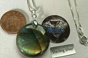 NATURAL ROUND LABRADORITE PENDANT WITH 925 STERLING SILVER BAIL AND BOX CHAIN