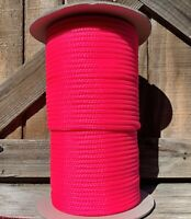 6mm x 500 ft. 16 Strand Hollow Braid Polyethylene Rope. Hot Pink. Made in USA.