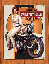 """TIN SIGN """"Harley Babe"""" Davidson Bike Rustic Motorcycle Garage Decor"""
