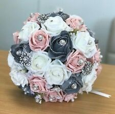 Wedding Flowers, Grey Vintage Peach, Ivory Rose, Posy Bouquet Bridal, Bridesmaid