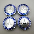 4PC Set Wheel Center Caps Emblem Blue Laurel Wreath 75mm For Mercedes Benz AMG