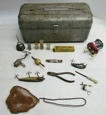 Vintage Poloron Metal Galvanized Steel Fishing Tackle Box Wooden Lure Jc Higgins