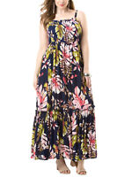 Roamans ladies maxi dress plus size 16/18 20/22 24/26 28/30 navy floral crinkle