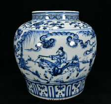 "10.8"" Old China Blue White Porcelain Dynasty People Man Ride Horse Pot Jar Crock"