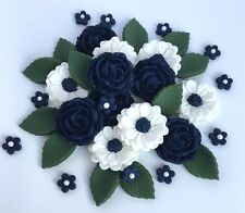 Navy Blue & White Roses Wedding Flowers Cake Decorations Edible Cake Toppers