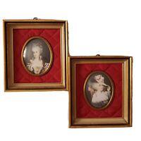 "Set 2 Vintage Frames ""A Cameo Creation"" Miniature Victorian Lady Portraits Rare"