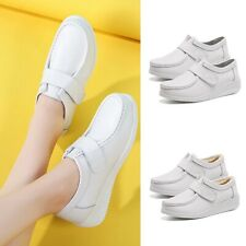 Womens Nurse Shoes Slip On Loafers White Office Coffee Shop Shoes Wedge Heel New