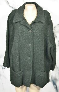 EILEEN FISHER WOMAN Black Boucle Wool Blend Jacket Coat 3X Long Sleeves Buttons