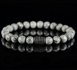 Perlenarmband für Herren Männer Zirconia Iced Out Armband Stein Kugel Schwarz