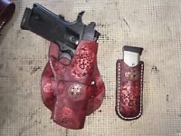 Handmade Leather Cross Draw Holster 1911 with mag pouch