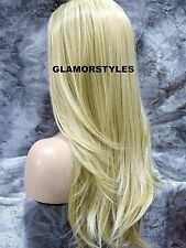 Human Hair Blend Long Layered Bleach Blonde Lace Front Full Wig Hair Piece #613