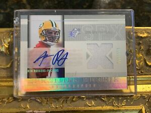 2005 SPX AUTOGRAPH 223 AARON RODGERS SPXITING ROOKIE 010/250 JERSEY PATCH FG