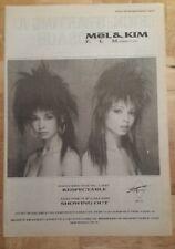Mel & Kim FLM respectable 1987 press advert Full page 30 x42 cm mini poster