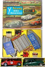 1960s Triang Minic Motorways Britain JAGUAR 3.4 SALOON PAIR Orig Box RACE SET A+