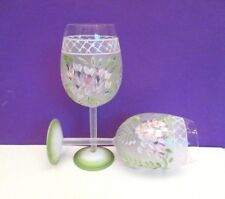 """Hand Painted 8 3/4"""" Wine Glasses"""