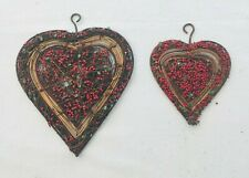 2 x Rustic Hanging Christmas Decorations Wicker Hearts with Beads Exc Cond JC138