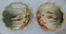 ANTIQUE LIMOGES FISH SET HAND PAINTED & SIGNED BY ARTIST SERVICE FOR 12