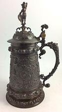 Antique figural silver plate 19th c  WMF German presentation Tankard Stein 1889
