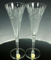 (2) Princess House HERITAGE CRYSTAL CHAMPAGNE Flutes 8oz #436 NOS with LABELS!!!