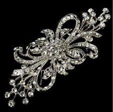 """4"""" Vintage LOOK Diamante Rhinestone CrystalFlower Bow Wedding Brooch Pin"""