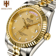 Holuns Mens Watches Stainless Steel Classic Gold Male Quartz Wrist Watch