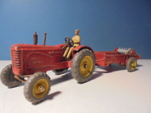 DINKY TOYS MASSEY HARRIS TRACTOR & MANURE SPREADER, 27a/27c, c1949