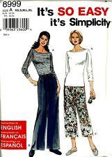 Misses Pants Knit Top Simplicity Pattern 8999 Sz. XS-XL Easy Uncut