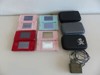 4x Nintendo DS Lite Handheld-Spielkonsole pink rot türkis mit Case defekt