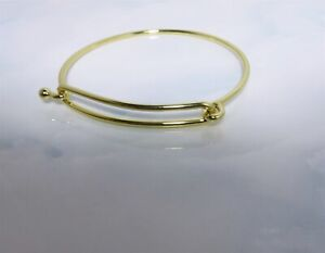Fabulous Yellow Gold Plated 2 Piece Wire Design Charm Bracelet / Bangle