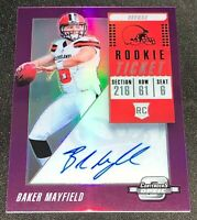 2018 PANINI CONTENDERS OPTIC PURPLE BAKER MAYFIELD RC ROOKIE AUTO # 46/49