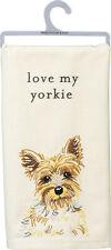 "Primitives by Kathy Love My Yorkie Dish Towel, 26"""