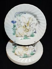 Royal Wessex Bunny Butterfly Flowers Dinner Plate Set/4 Fast Ship! New!