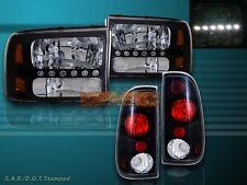 1999 - 2004 FORD F250 / F350 SUPER DUTY BLACK HEADLIGHTS LED + BLACK TAIL LIGHTS