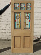 VICTORIAN EDWARDAIN ORIGINAL RECLAIMED STAINED GLASS EXTERIOR DOOR - THE STAR