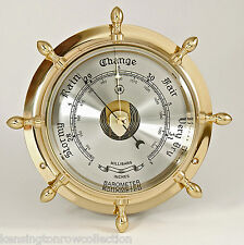 BAROMETERS - BRASS SHIPS WHEEL BAROMETER - WEATHER INSTRUMENTS - NAUTICAL DECOR