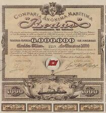 SPAIN SHIPPING COMPANY stock certificate 1899 W/COUPONS, RODAS