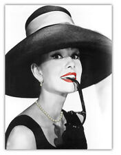 ~ Canvas Audrey Hepburn Picture Wall Art Decor Print With Real Faux Jewellery ~