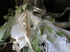RIBBON AND LACE - 20 METRES OF VINTAGE ROMANCE COUNTRY MEADOW - CREAM & GREENS