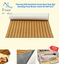 "Flooring EVA Synthetic Foam Boat Teak Mat Decking Floor Brown Yacht 35""x90""x0.2"""