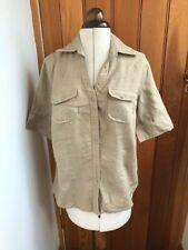 liz claiborne beige 100% linen short sleeved shirt uk 10 bnwt