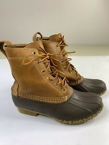 LL BEAN Women's Brown Leather Lace-up Duck Ankle Boots Size 6M